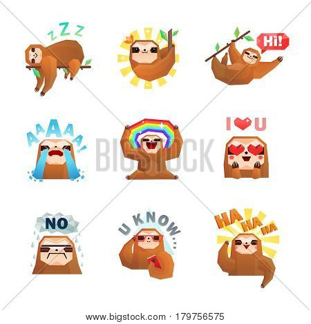 Sloth emotions set of nine isolated doodle style stickers with tree sloth character and text captions vector illustration