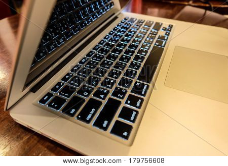 Keyboard Of Labtop On The Wood Table