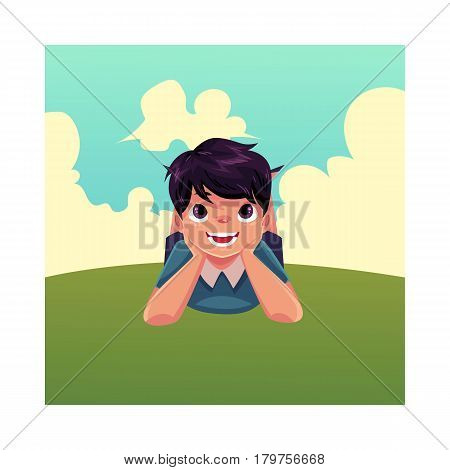 Teenage Caucasian boy with black hair and big eyes lying on green grass under summer sky, colorful cartoon vector illustration. Boy, kid, child lying on the grass, summer vacation concept