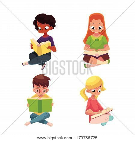 Set of children, boys and girls, reading interesting book sitting with crossed legs, cartoon vector illustration isolated on white background. Kids, boys and girls, Caucasian and black, reading books