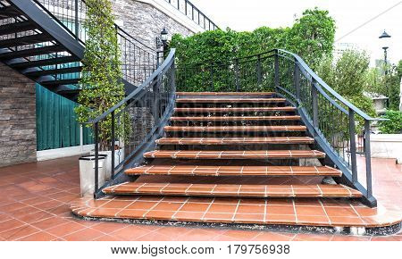 concrete and metal stairs in the park outdoor