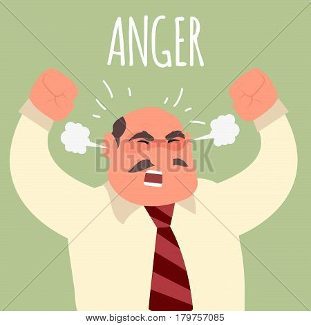 Illustration of an angry boss businessman. Emotional businessman in rage. Feeling anger. Emoticon, emoji. Simple style vector illustration