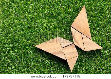 Wooden tangram puzzle in flying butterfly shape on green grass background