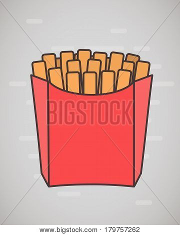 Flat style French fries in paper box isolated on white. Flat design. French fries fast food in a red package. Vector illustration.