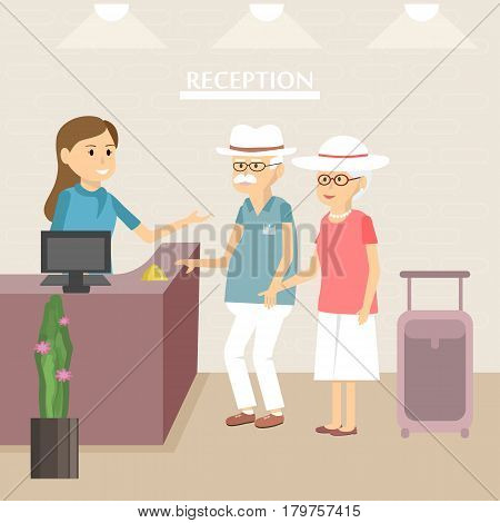Elderly tourists at hotel reception. Seniors couple lifestyle. Old man and woman arrival or check in at lobby. Vector illustration flat design