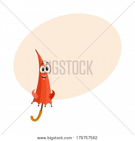 Cute and funny red folded, closed umbrella character with smiling human face, cartoon vector illustration with place for text. Closed umbrella, parasol character, mascot, design element