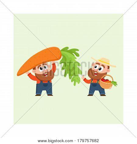 Funny farmer, gardener characters in overalls harvesting vegetables, holding giant carrot, woven basket, cartoon vector illustration isolated on white background. Comic farmer characters, harvest