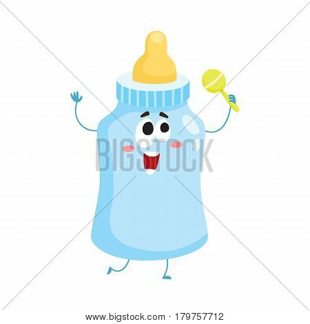 Cute and funny baby milk, feeding bottle character with human face holding rattle toy, cartoon vector illustration isolated on white background. Milk bottle character, mascot, child care concept