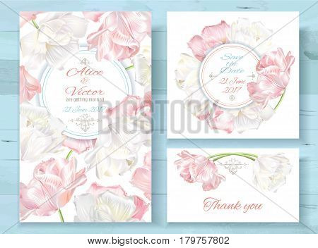 Vector wedding invitations set with white and pink tulip flowers on white background. Romantic tender floral design for wedding invitation, save the date and thank you cards
