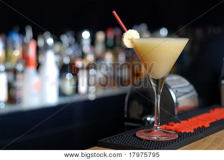 Cocktail with banana liquor