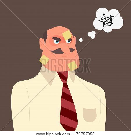 Office worker with a lot of short notes on his face for urgent work. Vector Illustration
