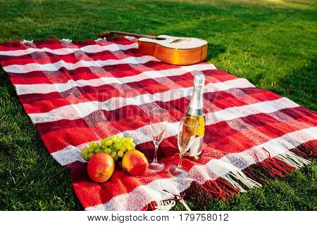 Photo of guitar, fruit, champagne and stemwares on red plaid in park.