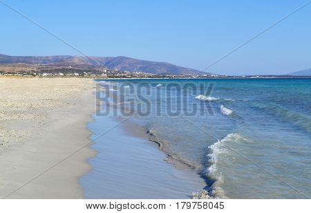 landscape of beach at Naxos island Cyclades Greece