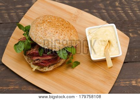 Steak sandwich A steak sandwich with mustard onions and watercress