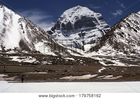 At the North Face of Sacred Mount Kailash in Western Tibet.