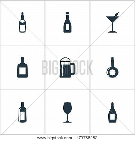 Vector Illustration Set Of Simple Drinks Icons. Elements Glassware, Champagne , Brandy Synonyms Brandy, Pint And Bottle.