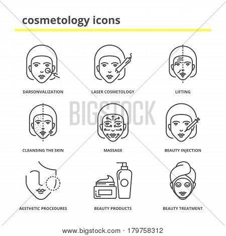 Cosmetology icons set: darsonvalization, laser cosmetology, lifting, cleansing the skin, massage, beauty injections, aesthetic procedures, beauty products and treatment poster