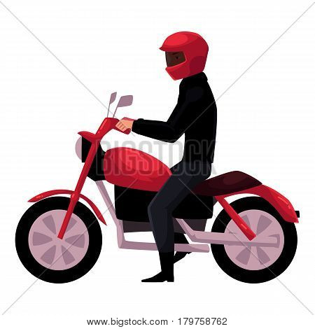Motorcycle, motorbike rider wearing helmet, side vew, urban motor transport concept, cartoon vector illustration isolated on white background. Man riding motorcycle, biker, motorcyclist wearing helmet