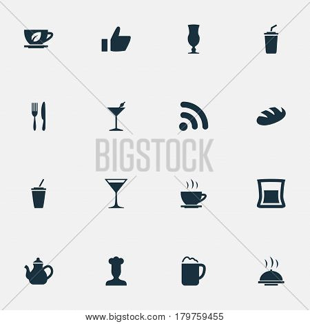 Vector Illustration Set Of Simple Cafe Icons. Elements Fork With Knife, Kettle, Glass And Other Synonyms Hand, Kettle And Tea.