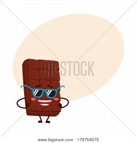 Cool, funny chocolate bar character in funky sunglasses, standing with arms akimbo, cartoon vector illustration with place for text. Funky chocolate character, mascot, emoticon in sunglasses