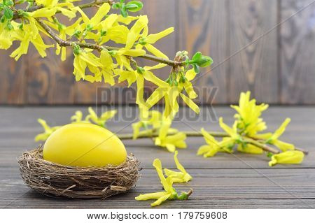 Easter card with yellow Easter egg in the nest and spring flowers