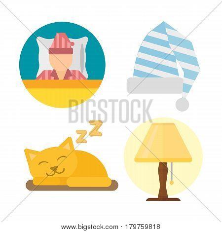 Sleep time icons set dream healthy lifestyle. Pajamas rest collection sleep icons. Sleeping cat, sleep time icons flat set isolated vector illustration.