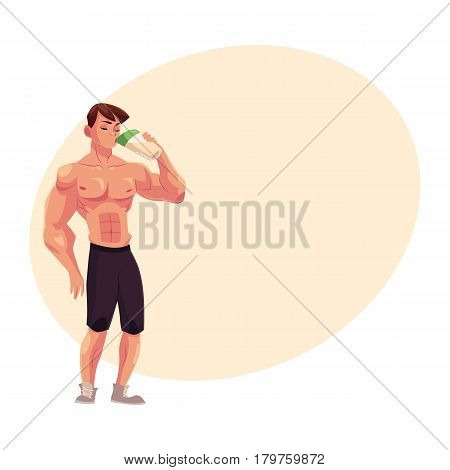 Man bodybuilder, weightlifter drinking protein shake after training, cartoon vector illustration with place for text. Full length portrait of man bodybuilder drinking protein shake