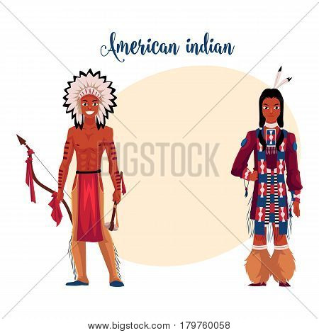 Native American Indian man shirtless in feather headdress and wearing fringed tribal shirt, cartoon vector illustration with place for text. Native American, Indian men in national clothes