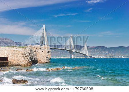 View of Patras and Rio Antirrio bridge, Greece