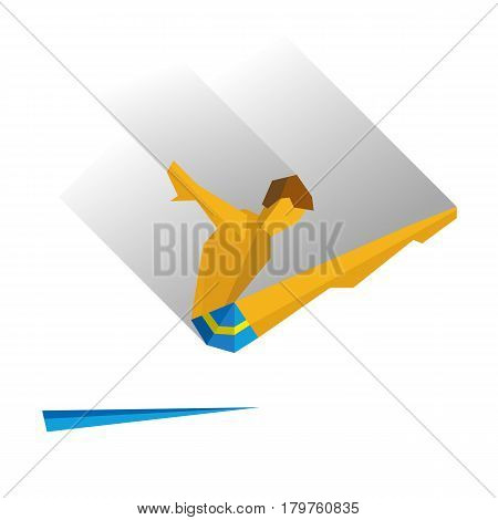Diver jumping from a springboard. Athlete isolated on white background with shadows. International sport games infographic. Flat style vector clip art.