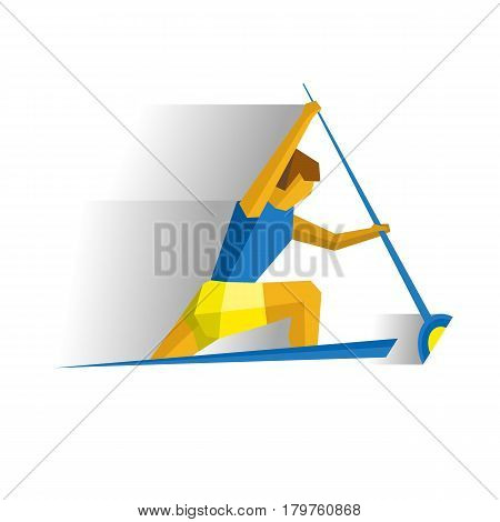 Canoe sprint competition. Athlete isolated on white background with shadows. International sport games infographic. Rower in the boat - flat style vector clip art.