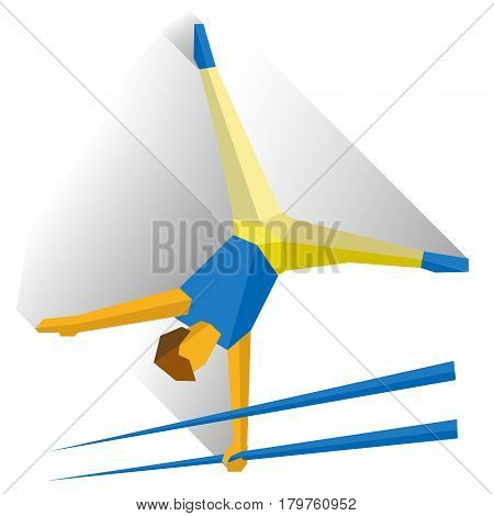 Gymnasts performing a routine on parallel bars. Athlete isolated on white background with shadows. International sport games infographic. Artistic Gymnastics - flat style vector clip art.