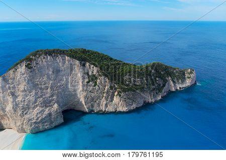 Beautiful landscape of Zakinthos island, Navagio beach, Greece