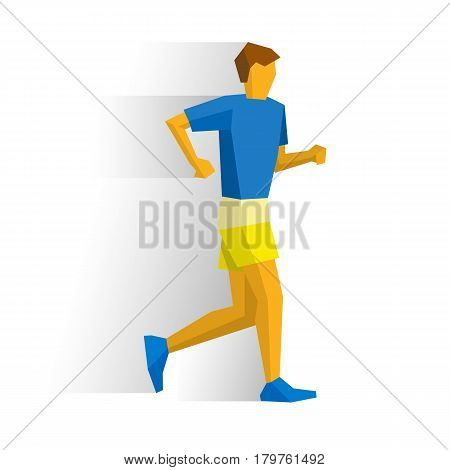 Walking sportsman in t-shirt and shorts. Athlete isolated on white background with shadows. International sport games infographic. Race walk competition - flat style vector clip art.