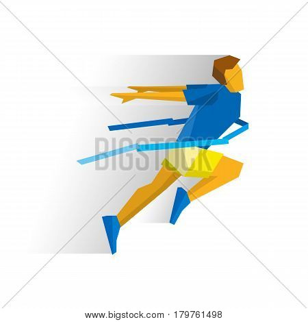 Running athlete crosses a finish line ribbon. Athlete isolated on white background with shadows. International sport games infographic. Winning runner - flat style vector clip art.
