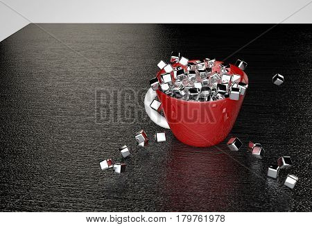Metal glossy cubes fill a red cup that stands on a black textured table 3D illustration