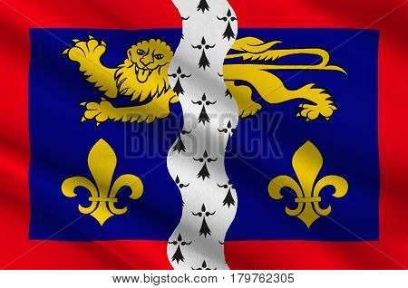 Flag of Mayenne is part of the current region of Pays de la Loire is a department in northwest France. 3d illustration
