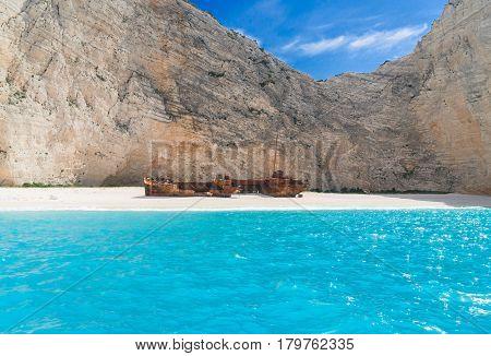 Navagio Shipwreak beach, Beautiful landscape of Zakinthos island, Greece