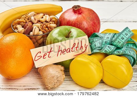 Get healthy card and fruits. Simple way to live better.