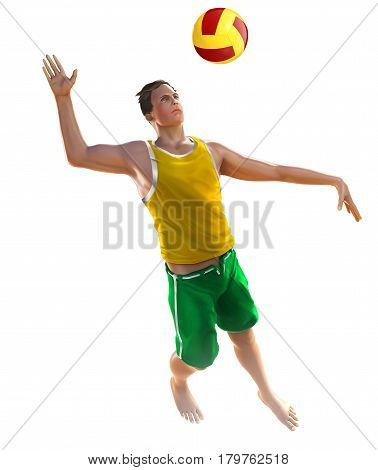 Illustration one male player beach volley isolated on white background