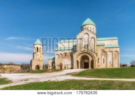 Georgia, Kutaisi - April 01, 2017: Bagrati Cathedral or The Cathedral of the Dormition is an 11th century cathedral in Kutaisi, Georgia.