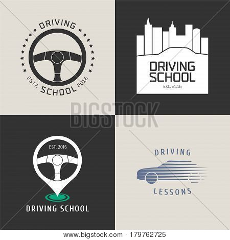 Collection of driving license school vector logo. Car driving on the city background steering wheels graphic design element