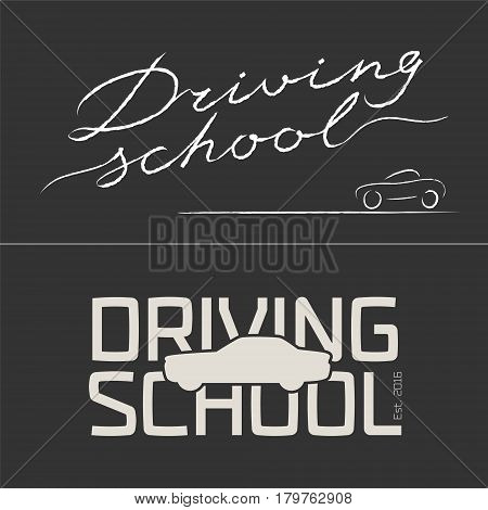 Set of driving school vector logo emblem. Blackboard with car silhouette graphic design element