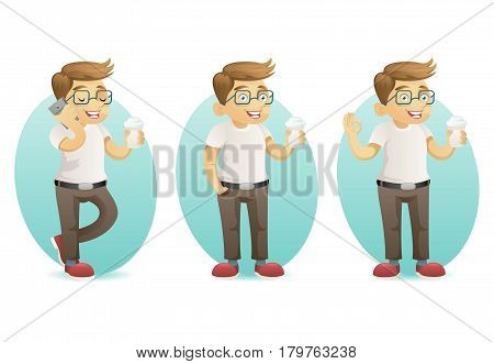 Cute smiling geek happy hipster smartphone hold coffee in hand cartoon characters set isolated design vector illustration