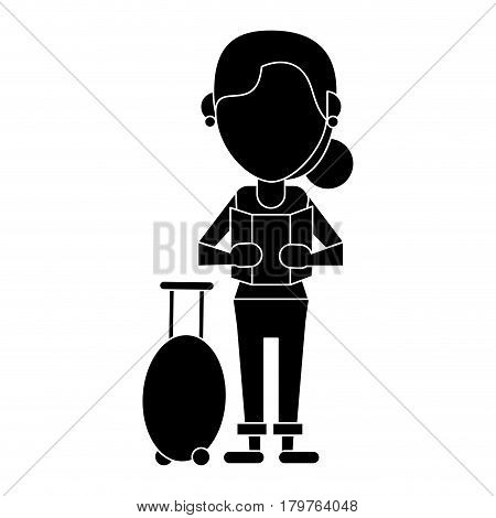 woman looking map baggage travel pictogram vector illustration eps 10