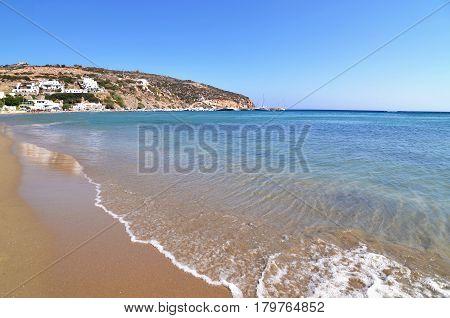 Platys Gialos beach at Sifnos island Cyclades Greece