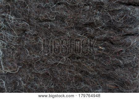 Close-up of black handmade woollen felt blanket