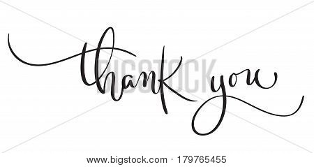 Hand drawn vintage Vector text Thank you on white background. Calligraphy lettering illustration EPS10.