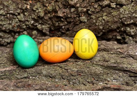 Set Of Colorful Happy Easter Handmade Eggs