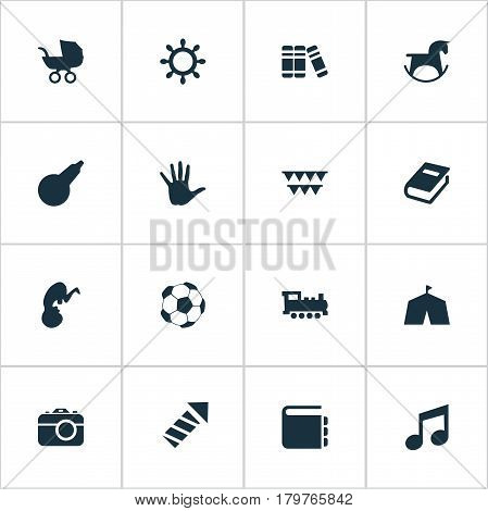 Vector Illustration Set Of Simple Baby Icons. Elements Sparkler, Stroller, Soccer And Other Synonyms Tent, Circus And Direction.